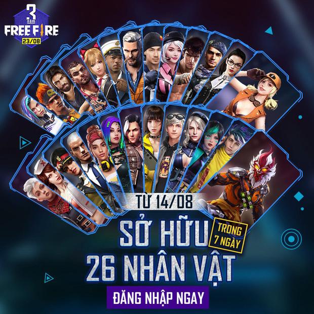 Garena tặng miễn phí game thủ tận 26 nhân vật trong Sự kiện Sinh nhật 3 tuổi Free Fire - Ảnh 4.