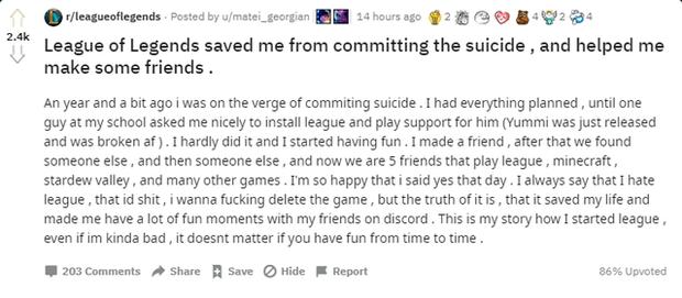 Tâm sự game thủ: LMHT đã cứu tôi khỏi ý định tự vẫn, giúp tôi có thêm nhiều bạn bè - Ảnh 2.