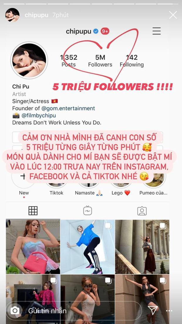 Thừa thắng xông lên, Chi Pu vượt mặt Ngọc Trinh để trở thành nghệ sĩ thứ 2 có 5 triệu follower trên Instagram - Ảnh 2.