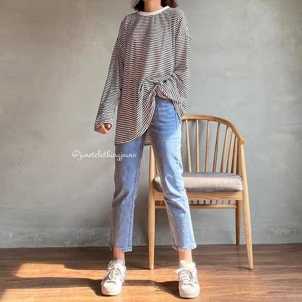 Nếu chỉ sắm 1 kiểu quần jeans, hãy chọn jeans ống đứng: Che nhược điểm đôi chân, mix với áo nào cũng đẹp mà giá chưa đến 200k - Ảnh 12.