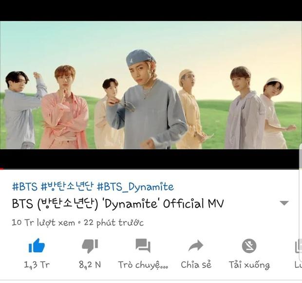 Dynamite của BTS thiết lập kỷ lục thế giới mới với cột mốc 10 triệu views và lượt xem công chiếu, làm nổ tung BXH nhạc số chỉ trong 1 giờ đầu - Ảnh 3.