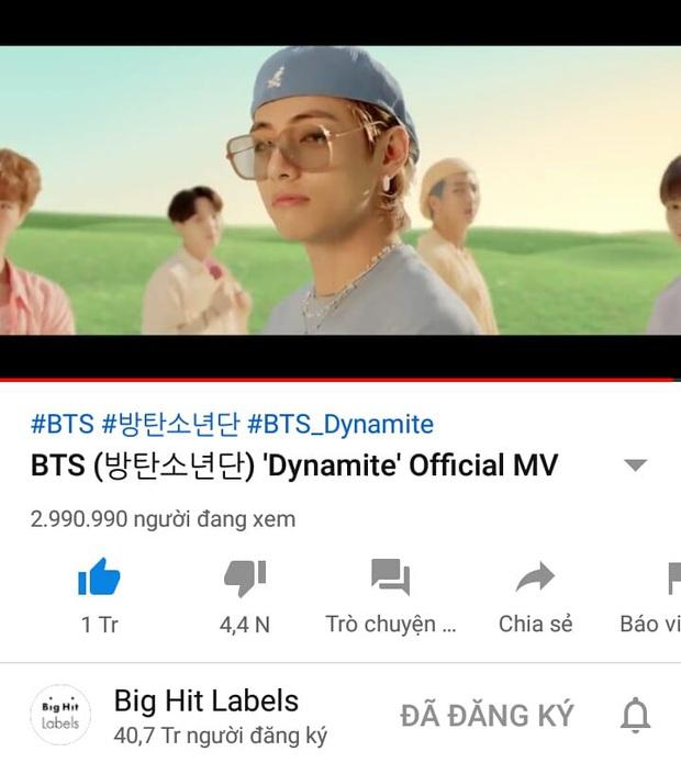 Dynamite của BTS thiết lập kỷ lục thế giới mới với cột mốc 10 triệu views và lượt xem công chiếu, làm nổ tung BXH nhạc số chỉ trong 1 giờ đầu - Ảnh 2.