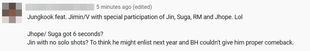 MV mới của BTS chẳng khác gì… Jungkook và những người bạn, fan bức xúc vì Jin lên hình 5 giây nhưng chưa phải người hát ít nhất - Ảnh 8.