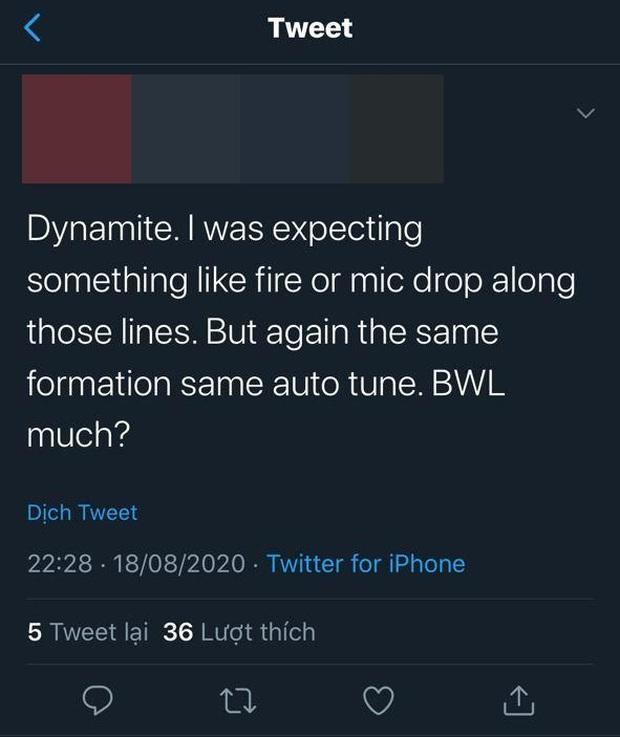 Phản ứng của fan US-UK trước Dynamite của BTS: Lạm dụng auto-tune quá đà, phát âm tiếng Anh quá chán, sẽ hát nhép khi trình diễn live? - Ảnh 4.