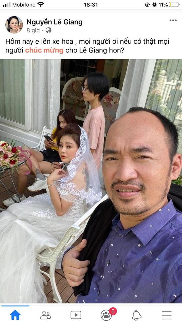 Lê Giang khoe ảnh diện váy cưới nóng bỏng kèm tuyên bố Hôm nay em lên xe hoa, bạn bè và khán giả bay vào chúc mừng - Ảnh 2.