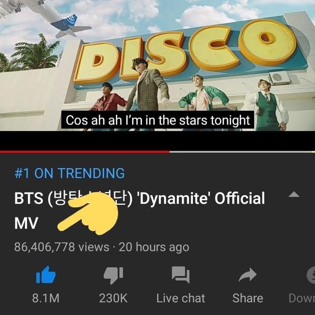 BTS xô đổ kỉ lục của BLACKPINK, Dynamite trở thành MV được xem nhiều nhất 24 giờ đầu trên toàn thế giới dù chưa tròn 1 ngày ra mắt! - Ảnh 1.