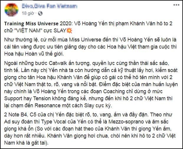 Diễn đàn thanh nhạc chê Hoa hậu Khánh Vân giọng chói tai nhưng lại khen Võ Hoàng Yến, nữ siêu mẫu vào bình luận luôn và ngay - Ảnh 3.