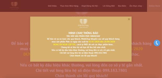 Minh Chay thông báo thu hồi sản phẩm pate có độc: Mua sản phẩm HSX từ 1/7 đến 28/8 dừng ăn ngay lập tức - Ảnh 1.