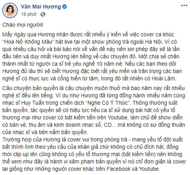 Văn Mai Hương làm rõ lùm xùm bị tố cover Hoa Nở Không Màu trái phép, còn cho biết nghệ sĩ khác hát hit của mình không cần hỏi vẫn okelah - Ảnh 1.