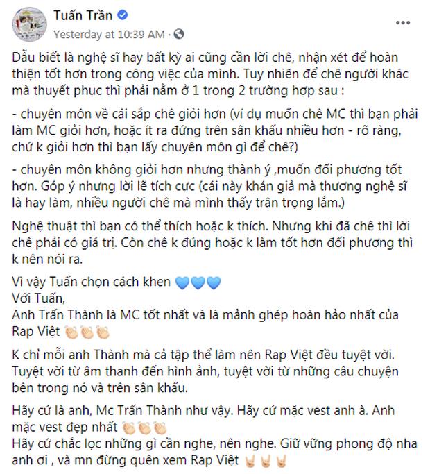 Trấn Thành có động thái mới nhất trước những tranh cãi xoay quanh việc làm MC Rap Việt - Ảnh 3.