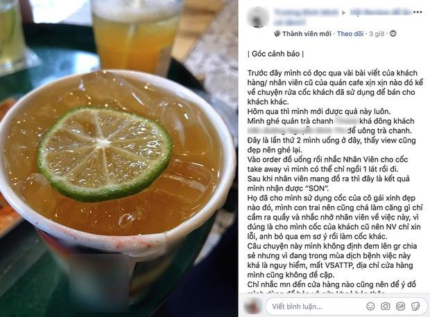 Nghi vấn một quán trà chanh ở Hà Nội mang cốc giấy cũ còn dính son ra cho khách dùng khiến cư dân mạng xôn xao - Ảnh 1.