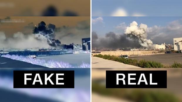 Video cho thấy có tên lửa bay tới trước vụ nổ kinh hoàng tại Lebanon đang khiến dân mạng hoang mang: Tất cả đều là fake - Ảnh 1.