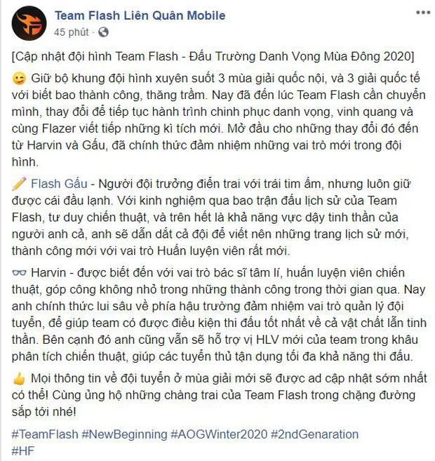 Team Flash đánh dấu bước chuyển mình: Gấu ngồi ghế HLV, Harvin sẽ thế vai Phương Top? - Ảnh 1.