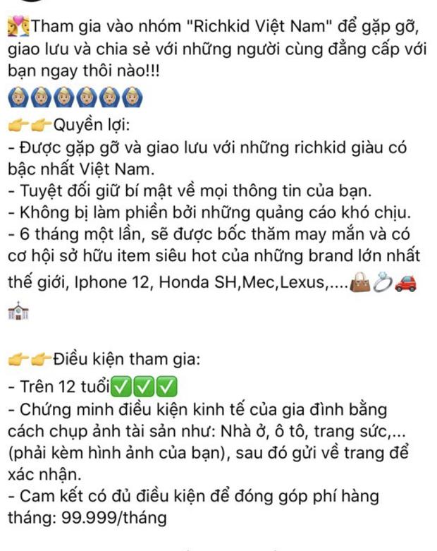 Một Fanpage rich kid Việt Nam đăng bài tuyển thành viên: Yêu cầu trên 12 tuổi, có ảnh chứng minh độ giàu và phí tham gia 5 triệu/ tháng - Ảnh 4.