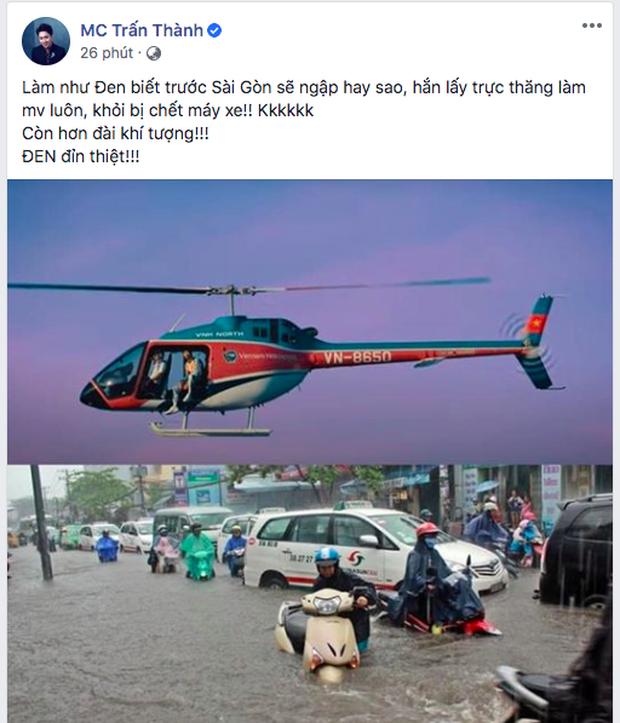 Trấn Thành bái phục tài tiên tri của Đen Vâu khi quay MV trên máy bay giữa lúc Sài Gòn ngập lụt: Đỉnh thật, còn hơn đài khí tượng - Ảnh 2.
