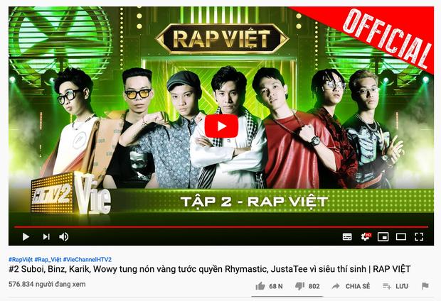 Với hơn nửa triệu lượt view, tập 2 Rap Việt là show thực tế có lượng người xem cùng lúc cao nhất Việt Nam mọi thời đại! - Ảnh 1.