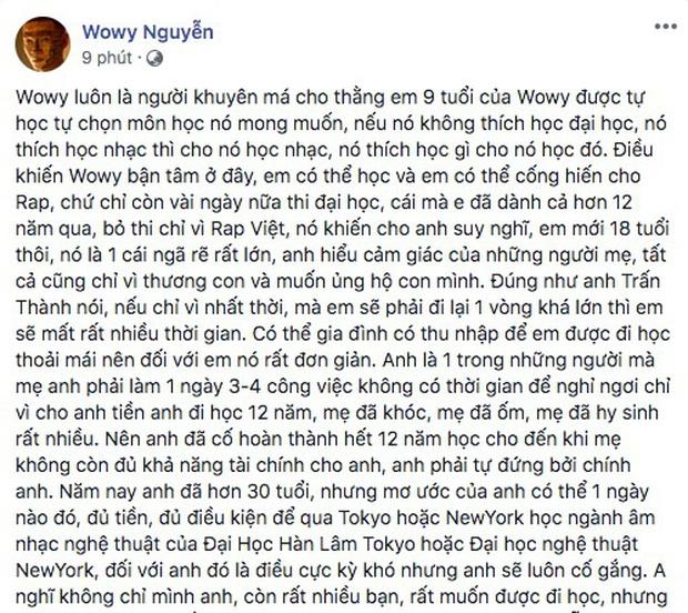 Wowy giải thích lý do xin lỗi và trả lại chú heo đất cho thí sinh Rap Việt: Câu nói của em làm anh chạnh lòng - Ảnh 4.