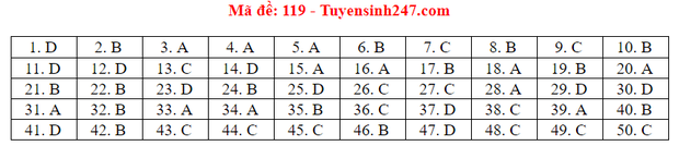 Đáp án đề thi tốt nghiệp THPT Quốc gia 2020 môn Toán (tất cả mã đề) - Ảnh 1.