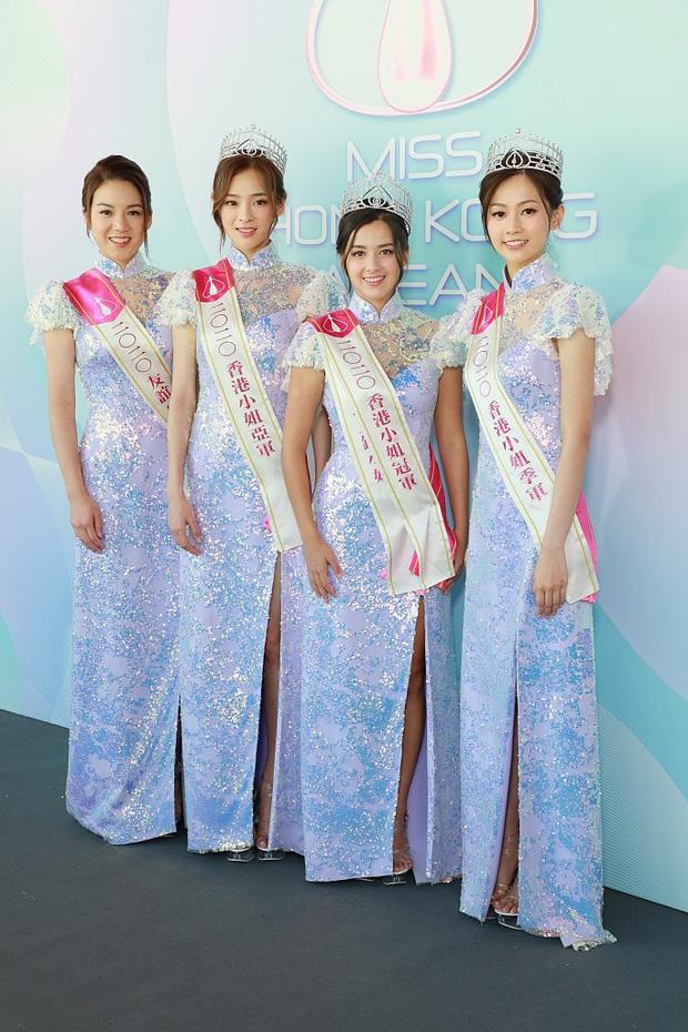 Tranh cãi khoảnh khắc tân Hoa hậu Hong Kong chiều cao hạn chế, lọt thỏm giữa dàn Á hậu trong sự kiện ra mắt đầu tiên - Ảnh 2.