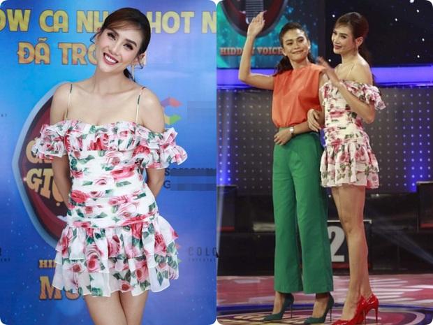 Lại thêm pha mặc váy ngắn cũn trên sóng truyền hình: Võ Hoàng Yến liên tục chỉnh váy để tránh mắc lỗi - Ảnh 1.