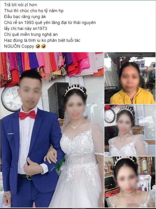 Xôn xao ảnh cưới của cặp đôi đũa lệch: Chú rể 27 tuổi ở Thái Nguyên và cô dâu 47 tuổi ở Nghệ An - Ảnh 1.