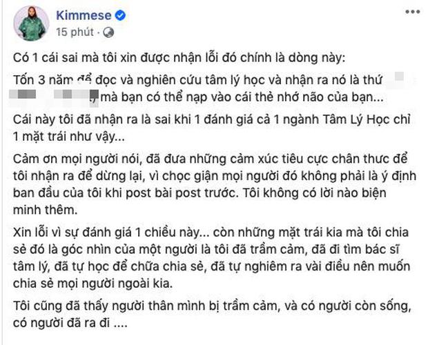 MXH tranh cãi dữ dội vì quan điểm chữa trầm cảm của Kimmese: Việc bạn cần làm là nhận ra mình đã tự ép mình quá đáng, đừng dùng thuốc tây - Ảnh 6.