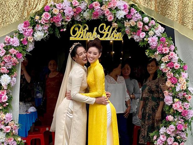 Khánh Vân làm dâu phụ trong đám cưới anh trai, dân tình dán mắt vào nhan sắc chị dâu từng thi Hoa hậu - Ảnh 3.