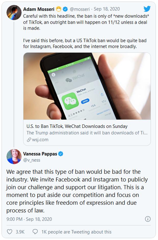 Bị dọa cấm cửa, TikTok kêu gọi Facebook và Instagram cùng chống lại tổng thống Trump - Ảnh 1.