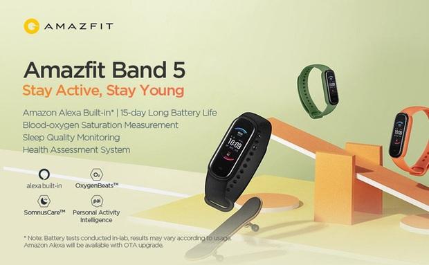 Xiaomi ra mắt Amazfit Band 5: Đo Oxy trong máu như Apple Watch Series 6, rẻ gấp 6 lần - Ảnh 1.