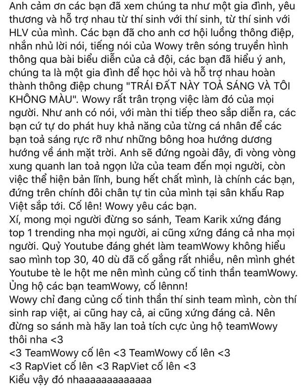 Team Karik giúp Rap Việt có thêm top 1 trending, Wowy lại tiếc nuối cho đội của mình - Ảnh 4.