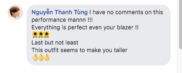 Sơn Tùng M-TP hiếm lắm mới dùng FB cá nhân đi comment dạo, vừa khen ngợi hết lời vừa cà khịa chiều cao của nam ca sĩ trẻ - Ảnh 2.