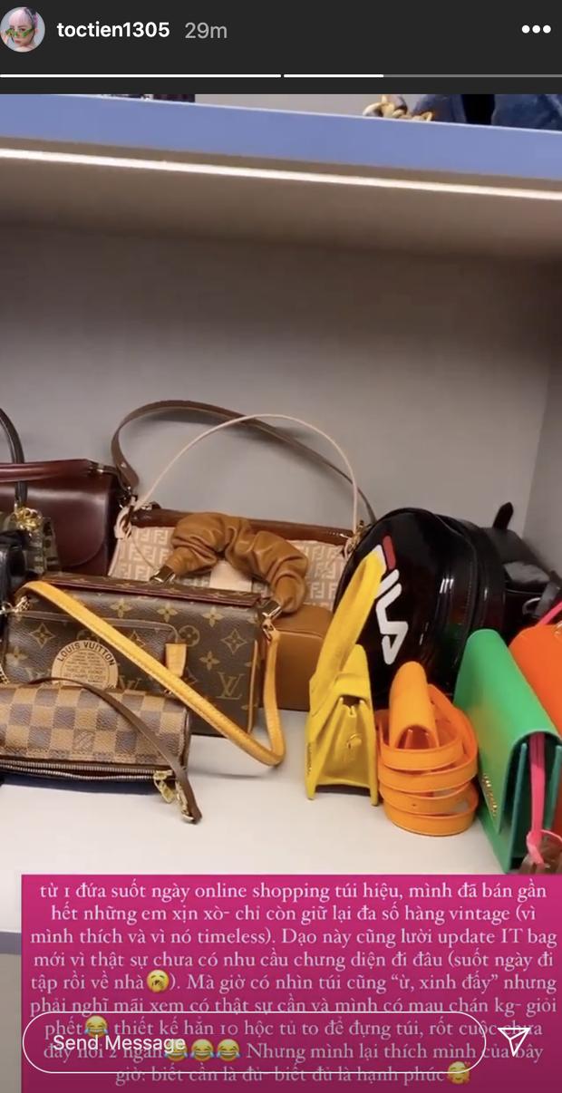 Tóc Tiên bán gần hết túi xách đắt đỏ, tủ đồ giờ chưa đầy 2 ngăn và quan điểm dùng đồ hiệu nghe là thấy nể - Ảnh 3.
