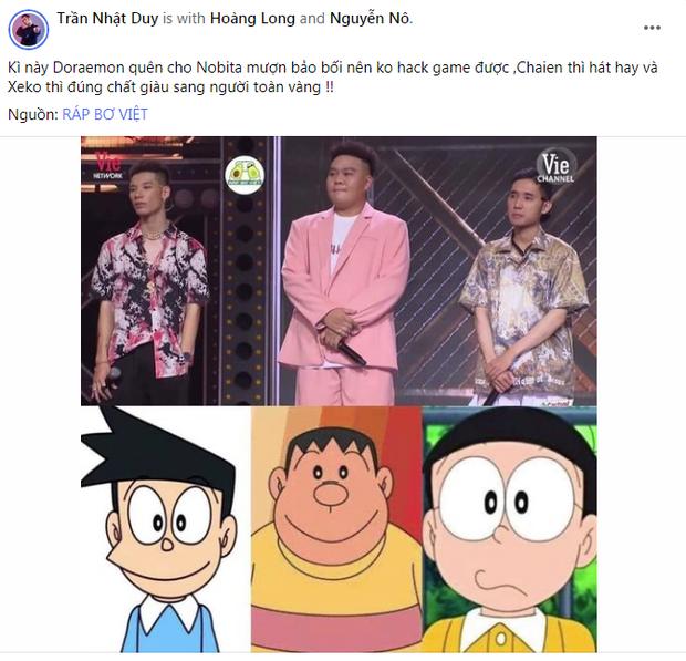 Rap Việt giờ không khác gì phim hoạt hình: Hết team Wowy lại đến học trò Karik thành nhân vật trong Doraemon - Ảnh 3.