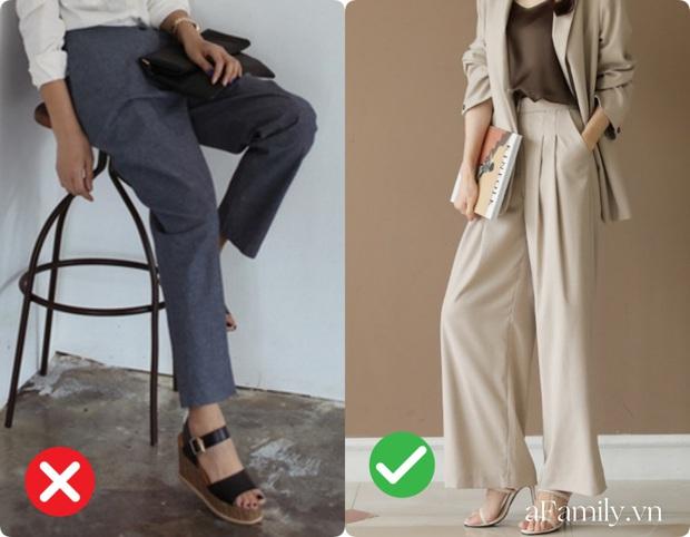 Diện quần ống rộng nếu không muốn dìm chiều cao tận đáy vực sâu thì nên tránh xa những kiểu giày dép này - Ảnh 1.