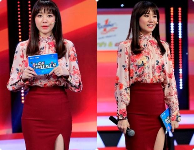 Làm MC, Hari Won có đôi ba lần diện đồ kém sang, tự dìm dáng ngay trên sóng truyền hình - Ảnh 4.
