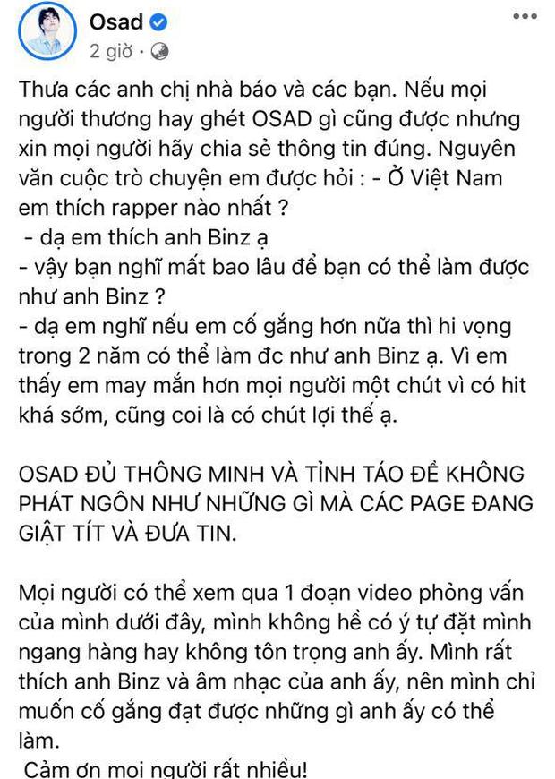 OSAD lên tiếng đính chính sau khi bị chỉ trích gay gắt về phát ngôn gây tranh cãi: Hai năm nữa tôi sẽ thay thế anh Binz - Ảnh 4.