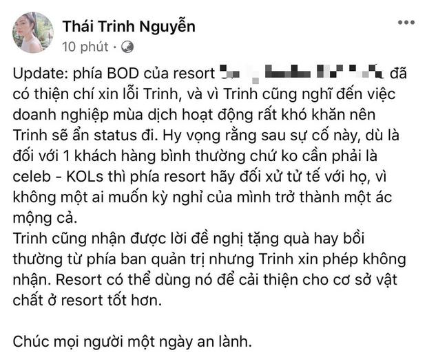 Giữa đêm, Thái Trinh đăng status nói rõ thái độ và cách xử lý của resort 5 sao hậu bị cô đăng dàn tố thiếu trách nhiệm - Ảnh 2.