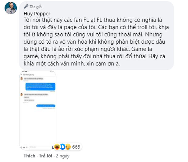 Huy Popper bức xúc lên tiếng, khuyên fan Team Flash đừng vô văn hoá sau trận thua Saigon Phantom - Ảnh 2.