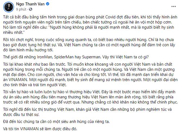HOT: Ngô Thanh Vân công bố phim siêu anh hùng VINAMAN, khán giả giật mình từ tựa phim quá sến - Ảnh 2.