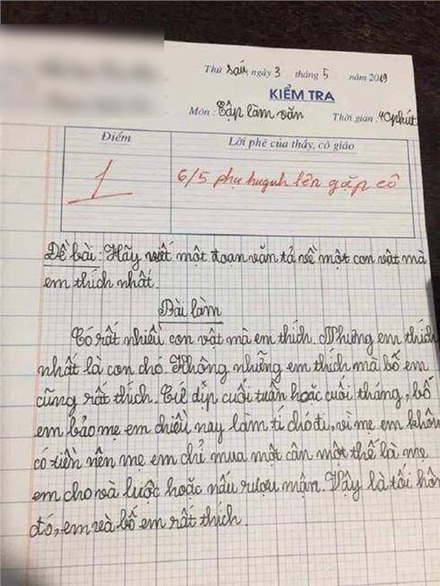 """Học sinh lớp 3 viết văn tả con vật yêu thích, vừa đọc xong cô giáo cho ngay 1 điểm cùng lời phê: """"Mời phụ huynh lên gặp cô"""" - Ảnh 1."""