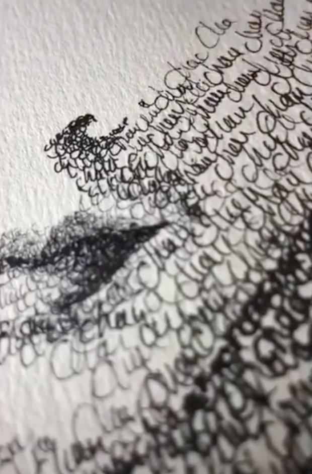Tranh Sơn Tùng bằng chữ Trâm chưa là gì, giờ có hẳn clip vẽ chân dung Binz bằng hàng nghìn chữ... Châu khiến MXH dậy sóng - Ảnh 3.