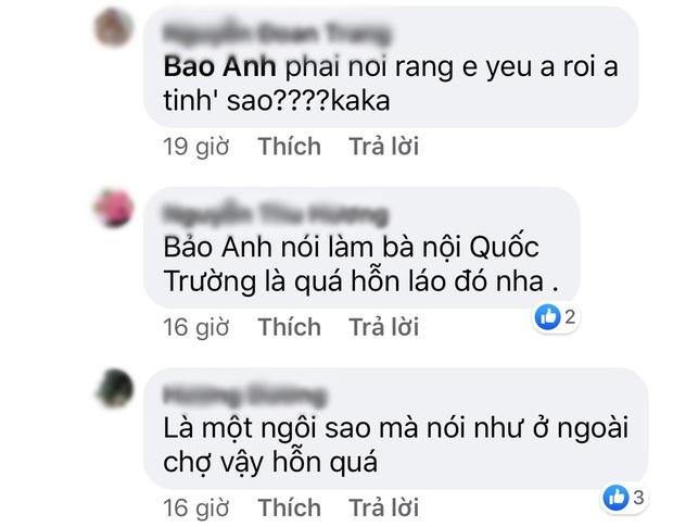Đáp thính của tình tin đồn Quốc Trường, Bảo Anh bị netizen chỉ trích gay gắt là có thái độ hỗn láo - Ảnh 3.