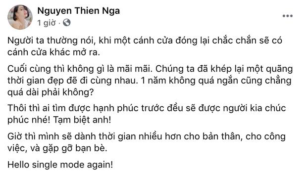 Thiên Nga công khai mình độc thân, viết tạm biệt anh giữa tin đồn Andree tái hợp Minh Tú - Ảnh 2.