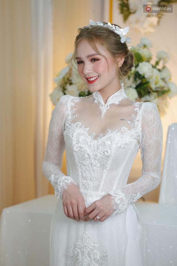 Cô dâu của streamer giàu nhất Việt Nam có khác, Xoài Non makeup cực long lanh, để tóc búi sang chảnh như gái Pháp - Ảnh 3.