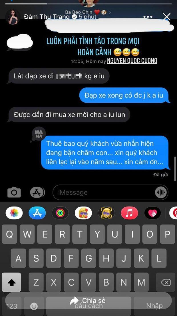 Đàm Thu Trang khoe tin nhắn mùi mẫn với Cường Đô La, đọc đến đoạn mẹ bỉm bẻ lái khi chồng đòi mua xe mà cười ngất - Ảnh 2.