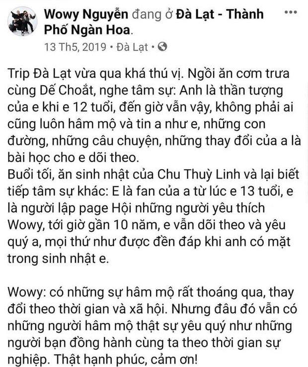 Trước khi thành thầy trò tại Rap Việt, Dế Choắt từng là fan cứng lập cả fanpage ủng hộ Wowy từ năm 13 tuổi - Ảnh 2.
