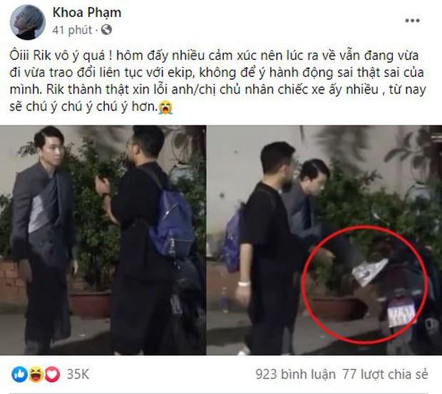 Karik chính thức gửi lời xin lỗi sau hành động gác chân lên xe người lạ chỉnh giày hậu Rap Việt - Ảnh 2.