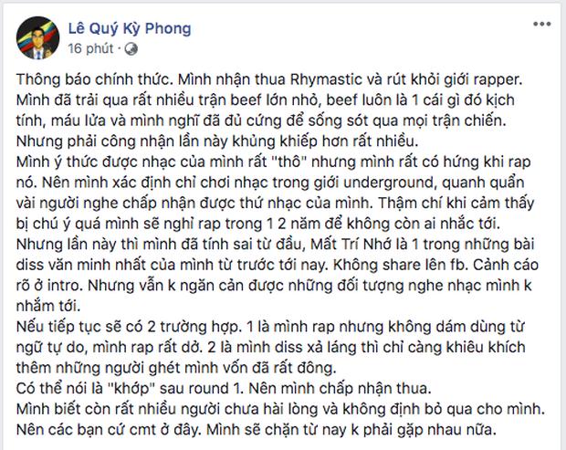 Sau tuyên bố rút khỏi giới rapper của Torai9, Rhymastic cũng đăng đàn... xin thua khép lại trận beef chóng vánh! - Ảnh 2.