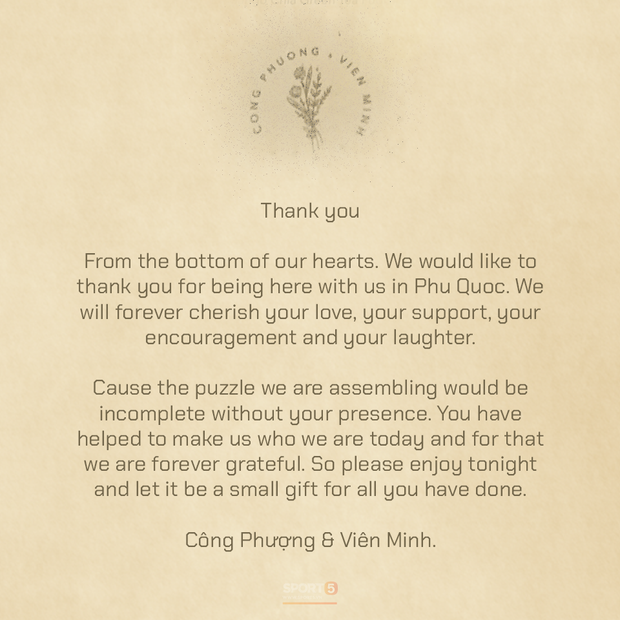 Tiết lộ nội dung thư và quà Công Phượng và Viên Minh tặng bạn bè tới dự đám cưới ở Phú Quốc - Ảnh 1.