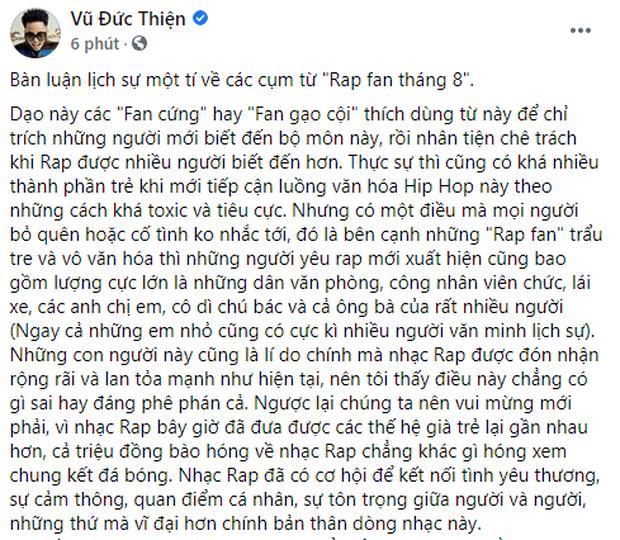 Sau trận beef với Torai9, Rhymastic viết tâm thư về Rap fan tháng 8: Cứ chửi và lên án thoải mái, Rap Việt vẫn sẽ lớn mạnh - Ảnh 2.